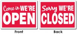 We're Open We're Closed Sign Plastic Card UV Coated 2S Extra Thick- 8.5x11-0