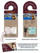 Real Estate Door Hanger - 4x10.5 Round Handle Door Hanger with Business Card Insert - 14 pt.-0