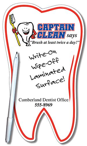 Health Mini Memo Board - Laminated Tooth Shape - 4.9375x8.5-209