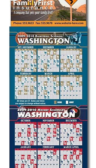Magna-Card Business Card Magnet - Basketball/Hockey Combo Schedules 3.5x9-0