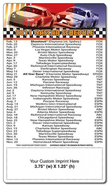 Magnet Sport Schedule - 4x7 NASCAR Round Corners-258