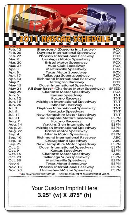 Magnet Sport Schedule - 3.5x6 NASCAR Round Corners-259