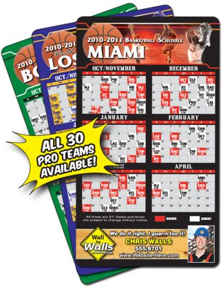 Magnet Sport Schedules - 4x7 Basketball Round Corners-0